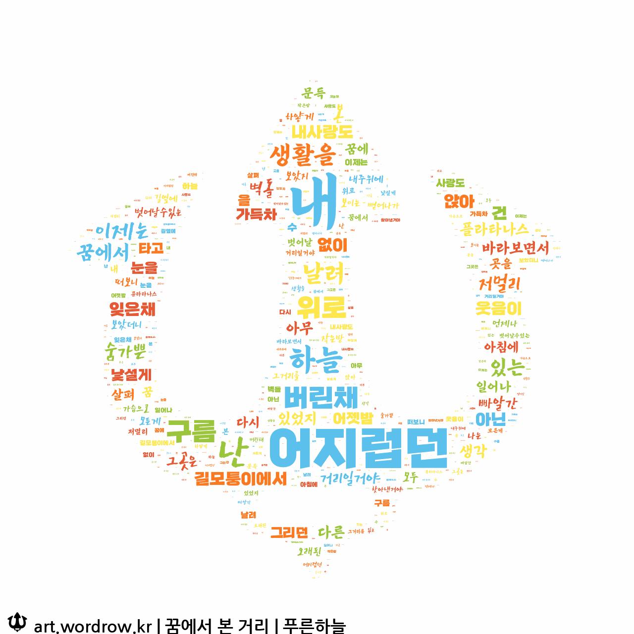 워드 아트: 꿈에서 본 거리 [푸른하늘]-6